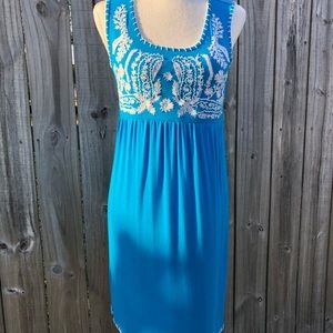 Turquoise Blue Dress with floral Embroidery
